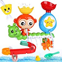 BBLIKE Bath Toys, Bath Wall Toy with Waterfall Station Toy Bath Track for Babies 12 Months for Bathtub, Swimming Pool Game, 14 Pcs Shower Toy Set