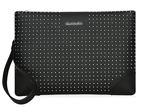 OOFAY Männer Tasche Trend Nieten Handtaschen Temperament Handtaschen Casual Persönlichkeit Umhängetaschen Männer Umschlag Taschen, schwarz