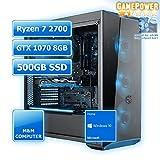 M&M Computer Gaming PC Esports AMD, AMD Ryzen 7 2700 CPU Octa-Core, NVIDIA GTX1070 8GB Grafikkarte, 480GB SSD, 16GB DDR4 RAM, Windows 10 Home