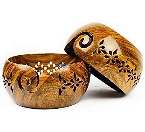 Ovillo lana cuenco madera agujeros nuevo diseño portátil