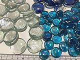 FAIRY TAIL & GLITZER FEE 210 Stück Deko-Steinen Granulate 20 bis 40mm Glas-Steine Streugranulat Tischdekoration Vasen-Füllungen Flache Glas Steine Glitzersteine Dekoschalen klar blau - 4