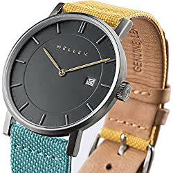 Meller Unisex Nag Bimeadow Minimalist Watch with Grey Analogue Display and Leather Strap