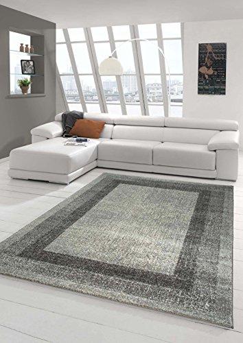 Alfombra diseñador Alfombra moderna pelo de la alfombra sala de estar alfombras de pelo bajo con borde Winchester en crema de color gris Größe 160x230 cm