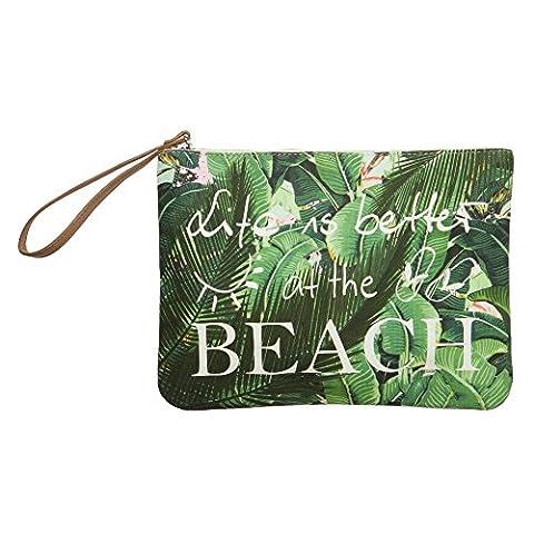 Codello Clutch Life is better at the beach Pad Case mit Palmen-Motiv Beach Please Motiv Muster (Beach Pad)