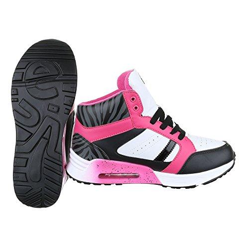High-Top Sneaker Damenschuhe High-Top Schnürer Schnürsenkel Ital-Design Freizeitschuhe Schwarz Pink