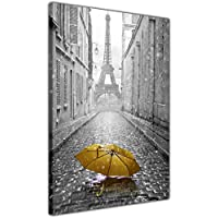 Paris Canvas Prints Iconic Ieffel Tower With Coloured Umbrella 18mm Thick Frame Giclee Wall Art Pictures