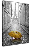 CANVAS IT UP Paris Kunstdruck Leinwanddruck Iconic ieffel Turm mit Schirm 18 mm Bilderrahmen, Giclée, Wand Kunst Bilder, canvas, gelb, 02- A3-16' X 12' (40cm X 30cm)