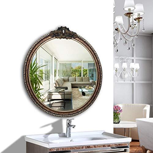 Wandmontage Badezimmerspiegel Dekorative Spiegel für Wohnzimmer Kosmetikspiegel Großen Europäischen Stil Runden Hängenden Spiegel (Farbe: Gold)