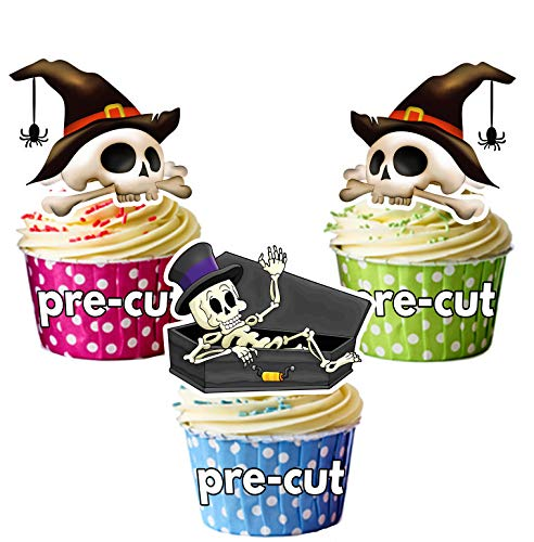 Vorgeschnittene Halloween Skelette Mit Hüten - Essbare Cupcake Topper / Kuchendekorationen (12 Stück)