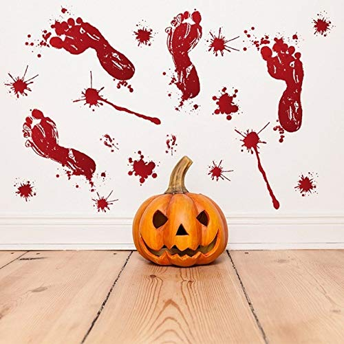 MSSJ 3D Horrible Halloween Dekoration Blutige Wandaufkleber Fingerabdruck Blutung Handabdruck Fuß Tapete Glasfenster Halloween Dekor   2 -