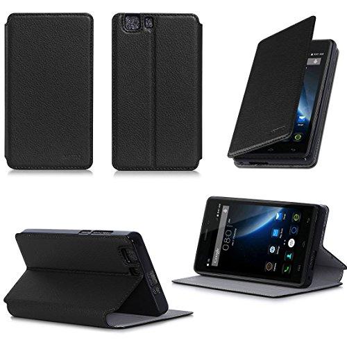 Doogee X5 / X5 PRO / X5S Tasche Leder Hülle schwarz Cover mit Stand - Zubehör Etui Doogee X5 / X5 PRO / X5S Flip Case Schutzhülle (PU Leder, Handytasche schwarz black) - XEPTIO accessories