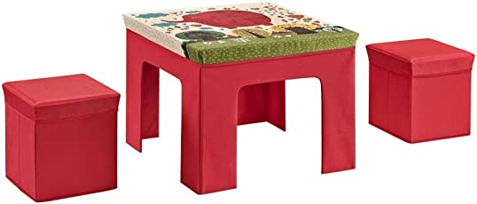 Generic 1 SET Folding Kids' Multi Pattern Table and Ottoman Set cube storage chair stool, art and craft children activity table(Multicolor multipattern, sent as per availability)