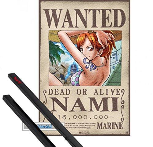 Poster + Hanger: One Piece Mini-Poster (52x35 cm) Wanted Nami Inklusive Ein Paar 1art1 Posterleisten, Schwarz