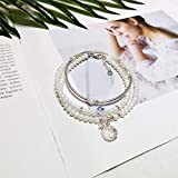 Lnyy Armband, natürliche Süßwasser Perle Multi-Ring Armband mit Sterling Silver Star Hand Ornamente