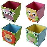 TE-Trend 4 Stück Textil Faltbox Spielbox Tiermotive Frosch Löwe Eule Kuh Aufbewahrung Truhe für Spielzeug faltbar 28 x 28 x 28 cm