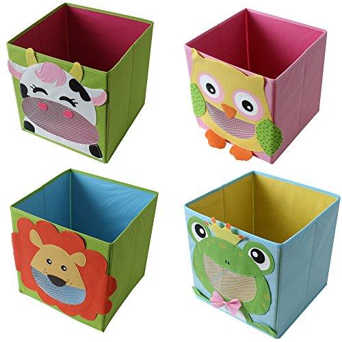 Spielzeug Für Jungen Truhen (4 Stück TE-Trend Textil Faltbox Spielbox Tiermotive Frosch Affe Eule Kuh Aufbewahrung Truhe für Spielzeug faltbar 28 x 28 x 28 cm)