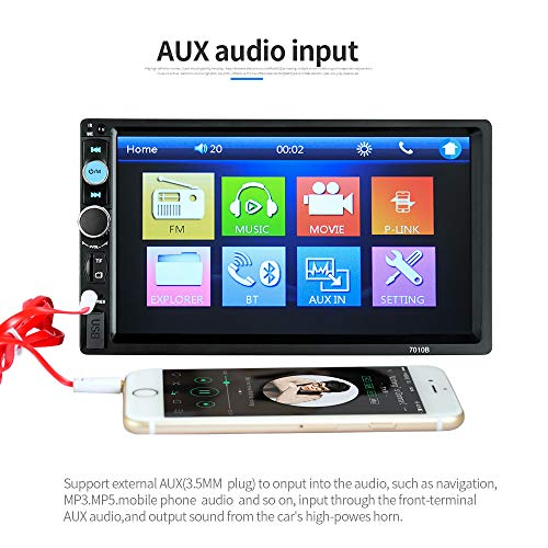 EisEyen 2DIN Auto Mp5 Player Autoradio Bluetooth 7 Zoll HD Touchscreen Auto Radio Car Radio Auto Multimedia Player TF Card(up to 32GB) FM Bluetooth Rear View Camera Rear Camera Input Aux In