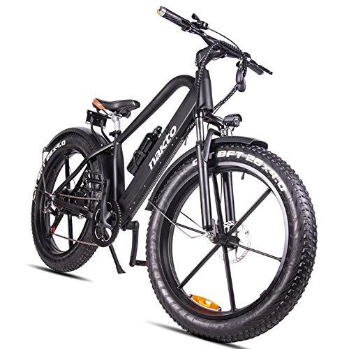 HJHJ Bicicleta de montaña eléctrica, Bicicleta híbrida de 26 Pulgadas/batería de Litio 18650 48V Amortiguador hidráulico de 6 velocidades y...
