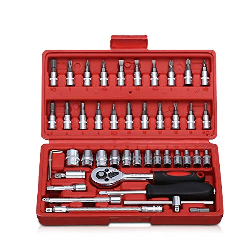 Zeroall Steckschlüsselsatz 46 PCS Steckschlüsselsatz Metric Socket Set Bit Quadratischer Antrieb Ratschensatz Tool Kit für Automotive Plumbing Mechanical Engineering DIY Aufgaben(Rot)