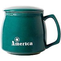 HwaGui Taza Grande de Porcelana café y té con Tapa, Taza de cerámica para Beber Ancha con Mango, 400ml / 14oz
