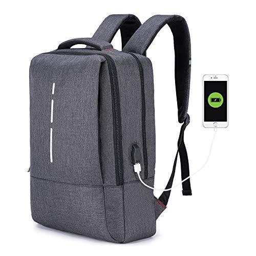 Basuwell Wasserdicht Laptop Rucksack, 17,3 Zoll Tagesrucksack Schulrucksack Multifunktionsrucksack Casual Daypack mit USB-Ladeanschluss für Reisen/Business/College/Frauen/Männer (Dunkelgrau)
