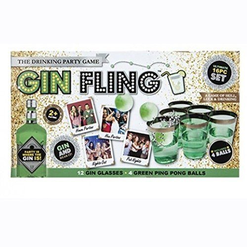 Ardisle Gin Pong Kit Party Game Cups Palline Gin Fling Beer Adulti Ping Xmas Gift Secret Occhiali da Babbo Natale Regalo per lei...