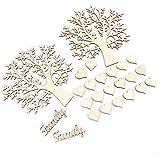 24tlg Holz Baum Form Gästebuch 20cm Hochzeit Wohnung Deko Taufe DIY