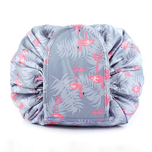 Bolsa de Maquillaje Plegable Bolsa de Cosméticos Perezosa Impermeable Organizador con Cordón Bolsa de Aseo Grande Neceser de Viaje para Mujer Viajes Vacaciones (Azul Flamingo)