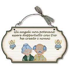 Idea Regalo - Dekori targhette Country in Legno da Appendere Nonni Angeli