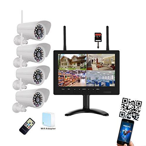 9-pulgadas-720p-HD-Wifi--Juego-de-videovigilancia-Tiempo-real-4-x-Cmaras-de-visin-nocturna-4-de-canal-Max-128-GB-Tarjeta-SD-LED-TFT