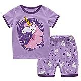 Tkiames Mädchen Schlafanzug Gr. 4-5 Jahre, violett
