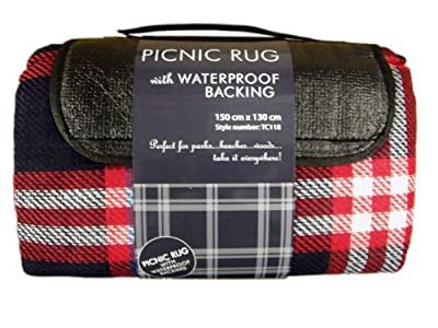 Picnic Rug With Waterproof Backing Red