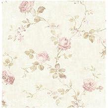 wallquest–Papel pintado de Shabby Flores Vintage con Flores Nelle TONALITA 'Delicate del Polvos y rosa envejecido dm21100Document de papel lievemente brillante