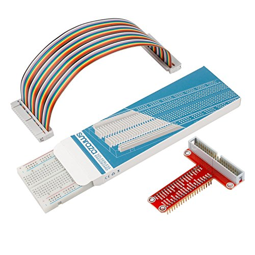 Smraza T Type GPIO Breakout board for Raspberry Pi 3 2 Mode B/B+ with 40 Pin Cable and 830 holes Breadboard Breakout-adapter
