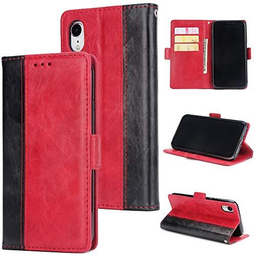 Chenjuan retro patchwork design a 2 colori per iphone xr all-inclusive custodia a portafoglio magnetica in pelle pu (colore : rosso)