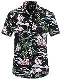 JEETOO Herren Sommer Regular Fit Kurzarm Shirts Segelschiff/Vogel / Blumen/Flamingos / Druck Freizeit Aloha Hawaii Hemd (Large, Schwarz_1)