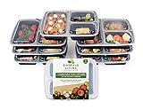 Emerald Living Set mit Lebensmittelboxen, je 3 Trennfächer und Deckel, BPA-freier Kunststoff, wiederverwendbar, stapelbar, geeignet für Mikrowelle, Gefrierschrank & Spülmaschine (1l, 7-teilig).