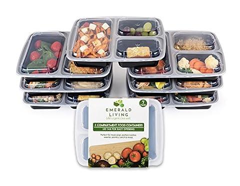 3Compartiment sans BPA Meal Prep conteneurs. en plastique réutilisables contenants alimentaires avec couvercles. empilable, au micro-ondes, congélateur et au lave-vaisselle Bento Lunch Box Set + eBook [1L–Lot de 7]