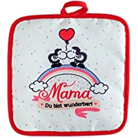 Sheepworld 45239 Pot Holder. Mum You Are Wonderful I Love You, 18 cm x 18 cm, Gift 100 Percent Polyester Plain Raschel Throw, Multi, 18 x 18 x 1 cm