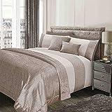 Sienna schimmerndes, glänzendes Bettwäscheset mit Bettbezug und Kissenbezug, Gold- und cremefarben, für Kingsize-Betten.
