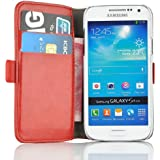 Samsung Galaxy S4 Mini, JAMMYLIZARD Luxuriöse Ledertasche Flip Cover, ROT
