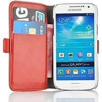 Samsung Galaxy S4 Mini Lederhülle   JAMMYLIZARD Handyhülle [ Luxuriöse Series ] Ledertasche Flip Case Cover Hülle Leder Schutzhülle mit Kartenfach, Rot