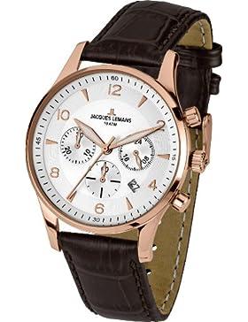 Jacques Lemans Herren-Armbanduhr XL London Chronograph Quarz Leder 1-1654H
