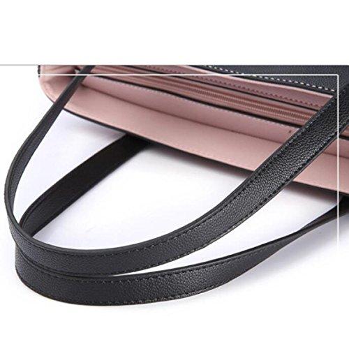 DHFUD Frauen PU Handtasche Umhängetasche Schultertasche Stitching Mode Rubberred
