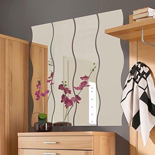 Spiegelfliesen Wellenform 4er Set je 110x23cm - Spiegelkachel Fliesenspiegel Wanddekoration