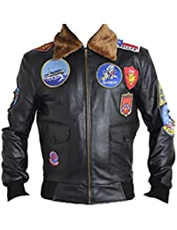 Hombres de Top Gun Real con una chaqueta de cuero