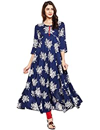 [Sponsored]Tissu Women's Viscose Rayon Floral Printed Indigo Flared Kurta