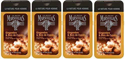 Le Petit Marseillais Gel Douche Homme Gingembre/Bois de Cyprès 250 ml - Lot de 4