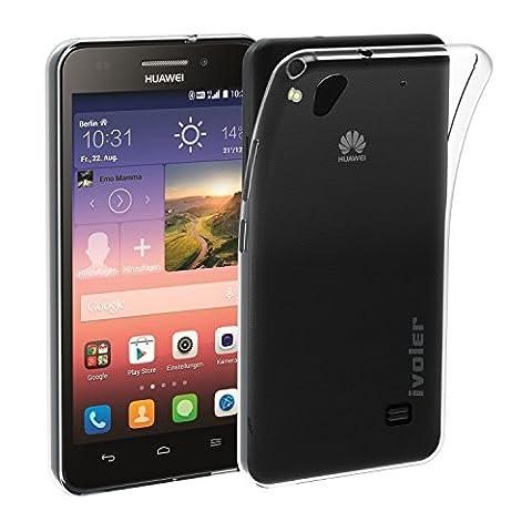 Huawei Ascend G620s Coque, iVoler [Liquid Crystal] Case Coque Housse Etui Ultra Hybrid TPU Silicone,[Extrêmement Mince Souple et Flexible] [Peau Transparente] [Shock-Absorption Bumper et Anti-Scratch Effacer Back] pour Huawei Ascend G620s (Bumper - HD Clair) -Garantie de Remplacement de 18 Mois