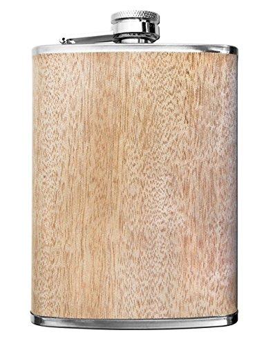 Outdoor Saxx® - Edelstahl Flachmann Wood | hochwertige Taschen-Flasche, Whiskey, Schnaps | 260ml Schraub-Verschluss. Geschenk-Idee | Holz-Design